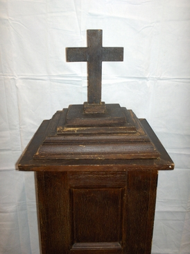 Circa 1880-90, primitive Texas pine Baptismal Font. Constructed of genuine East Texas pine. This Baptismal Font has its single original alligatored and cracked finish. 100% original. $1295.00
