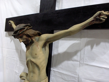 "Circa 1890-1900 Crucifix standing 8 feet tall and 41"" across.  Expertly carved wood figure of Christ on solid oak cross. The body of Christ is 33"" tall and 41"" across. Probably Italian in origin. Fully painted. $5995.00"